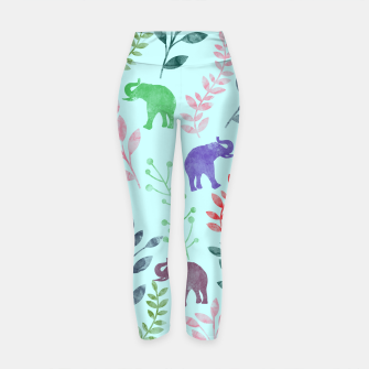 Miniature de image de Watercolor Flowers & Elephants II Yoga Pants, Live Heroes