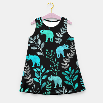Miniature de image de Watercolor Flowers & Elephants III Girl's Summer Dress, Live Heroes