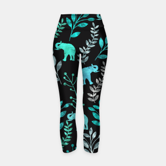 Miniature de image de Watercolor Flowers & Elephants III Yoga Pants, Live Heroes