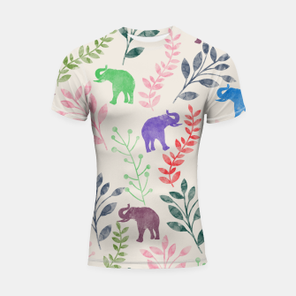 Miniature de image de Watercolor Flowers & Elephants Shortsleeve Rashguard, Live Heroes