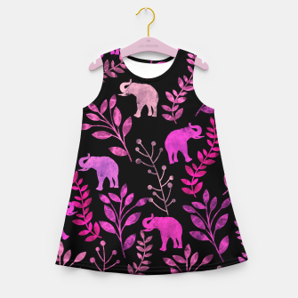Miniature de image de Watercolor Flowers & Elephants IV Girl's Summer Dress, Live Heroes