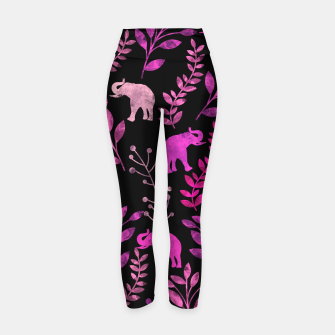 Miniature de image de Watercolor Flowers & Elephants IV Yoga Pants, Live Heroes
