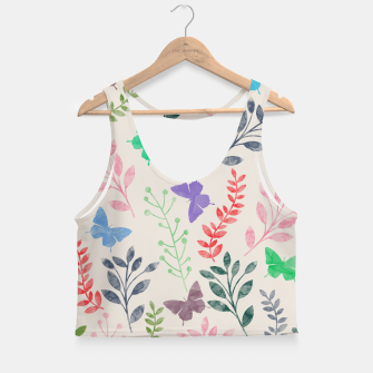 Miniature de image de Watercolor Flowers & Butterfly  Crop Top, Live Heroes