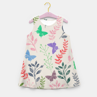Miniature de image de Watercolor Flowers & Butterfly  Girl's Summer Dress, Live Heroes