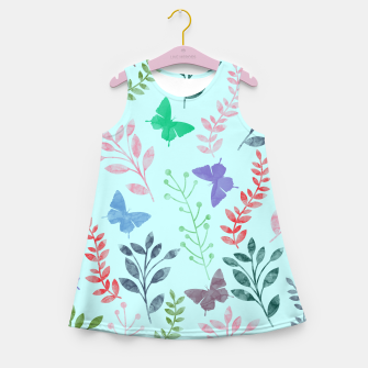 Miniature de image de Watercolor Flowers & Butterfly  II Girl's Summer Dress, Live Heroes