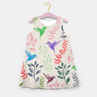 Miniature de image de Watercolor Flowers & Birds  Girl's Summer Dress, Live Heroes