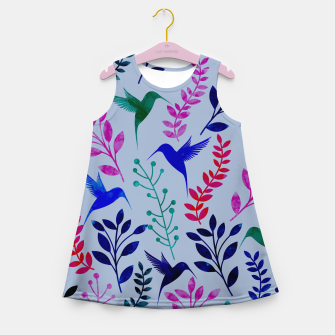 Miniature de image de Watercolor Flowers & Birds II Girl's Summer Dress, Live Heroes
