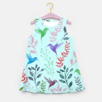 Miniature de image de Watercolor Flowers & Birds III Girl's Summer Dress, Live Heroes