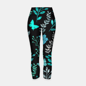 Miniature de image de Watercolor Flowers & Butterfly V Yoga Pants, Live Heroes