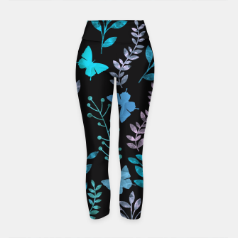 Miniature de image de Watercolor Flowers & Butterfly III Yoga Pants, Live Heroes