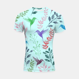 Miniature de image de Watercolor Flowers & Birds III Shortsleeve Rashguard, Live Heroes