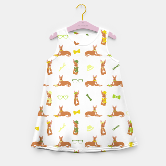 Miniature de image de Pharaoh Hound Pattern Green Girl's Summer Dress, Live Heroes