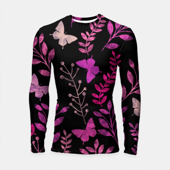 Thumbnail image of Watercolor Flowers & Butterfly IV Longsleeve Rashguard , Live Heroes