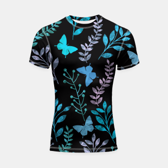 Thumbnail image of Watercolor Flowers & Butterfly III Shortsleeve Rashguard, Live Heroes