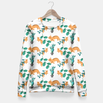 Thumbnail image of tropical cat Fitted Waist Sweater, Live Heroes
