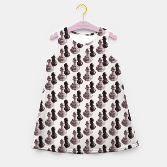 Thumbnail image of Pencil Drawn Chess Pawns Pattern Girl's Summer Dress, Live Heroes