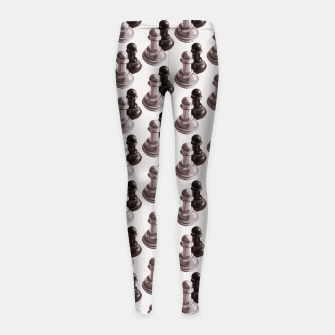 Thumbnail image of Pencil Drawn Chess Pawns Pattern Girl's Leggings, Live Heroes