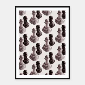 Thumbnail image of Pencil Drawn Chess Pawns Pattern Framed poster, Live Heroes