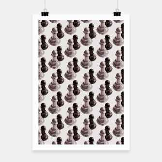 Thumbnail image of Pencil Drawn Chess Pawns Pattern Poster, Live Heroes
