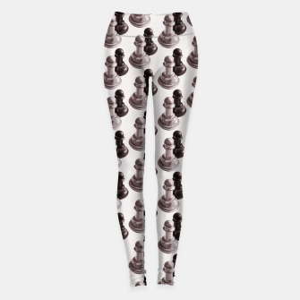 Thumbnail image of Pencil Drawn Chess Pawns Pattern Leggings, Live Heroes
