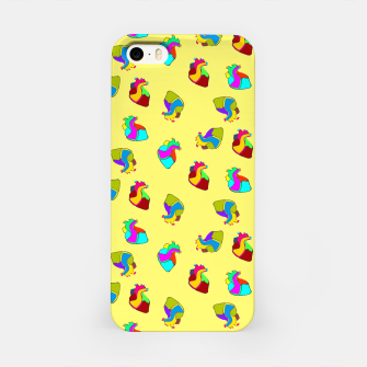 Miniature de image de Candy hearts on yellow iPhone Case, Live Heroes