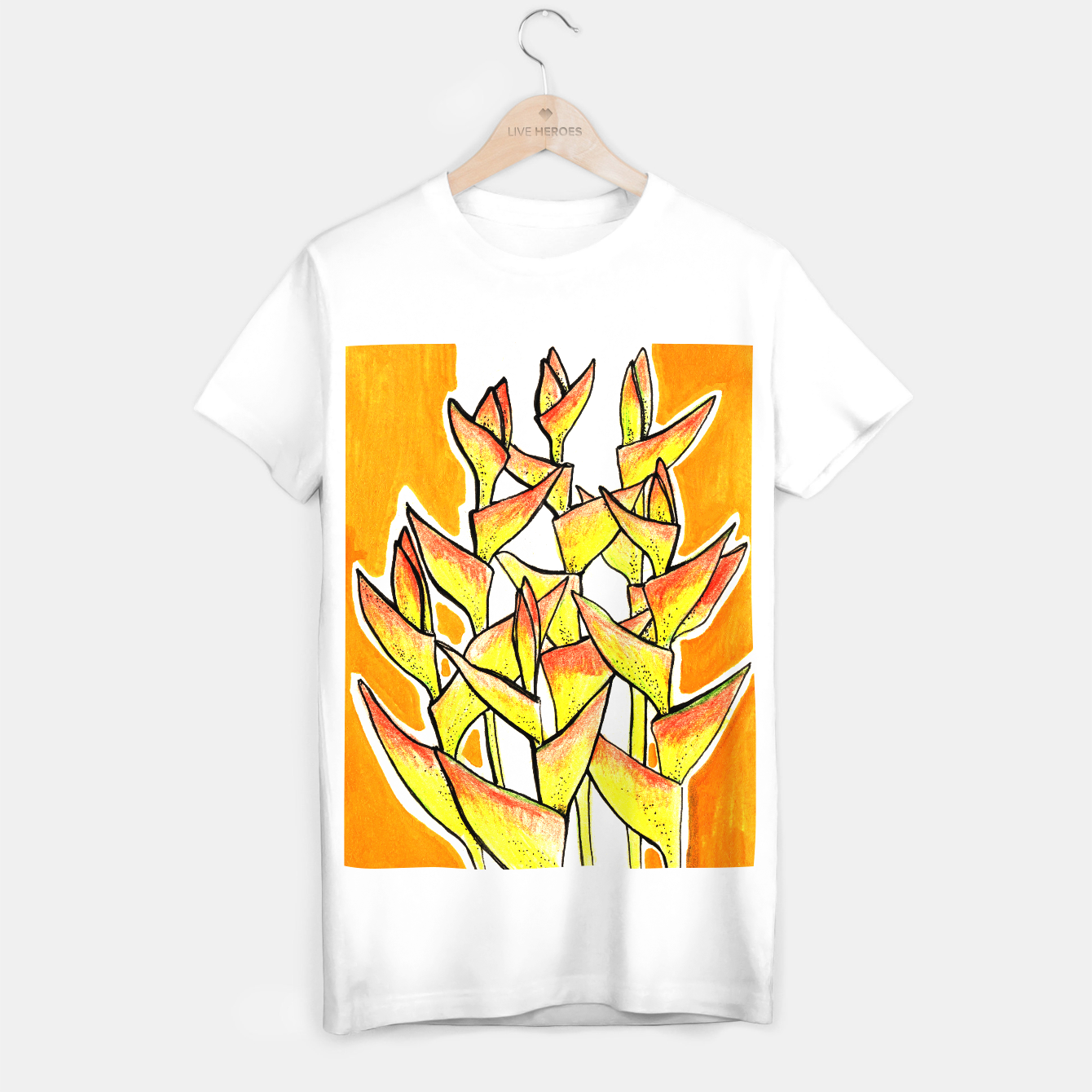 Image of Heliconia Rostrata / Lobster Claw, floral art, yellow & orange T-shirt regular - Live Heroes