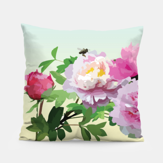 Thumbnail image of  Chinese Peonies Pillow, Live Heroes