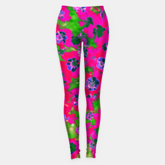 Thumbnail image of blooming pink flower with green leaf background Leggings, Live Heroes