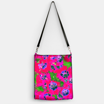 Thumbnail image of blooming pink flower with green leaf background Handbag, Live Heroes