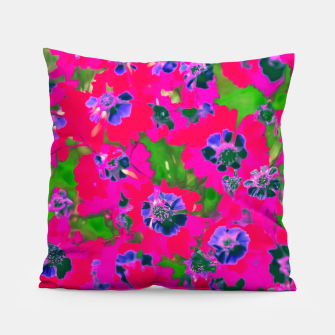 Thumbnail image of blooming pink flower with green leaf background Pillow, Live Heroes