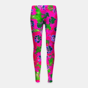 Thumbnail image of blooming pink flower with green leaf background Girl's Leggings, Live Heroes
