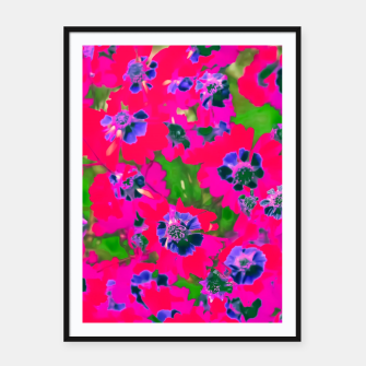Thumbnail image of blooming pink flower with green leaf background Framed poster, Live Heroes