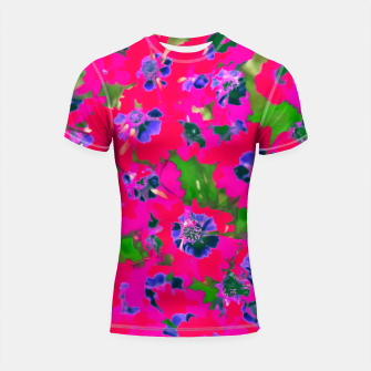 Thumbnail image of blooming pink flower with green leaf background Shortsleeve Rashguard, Live Heroes