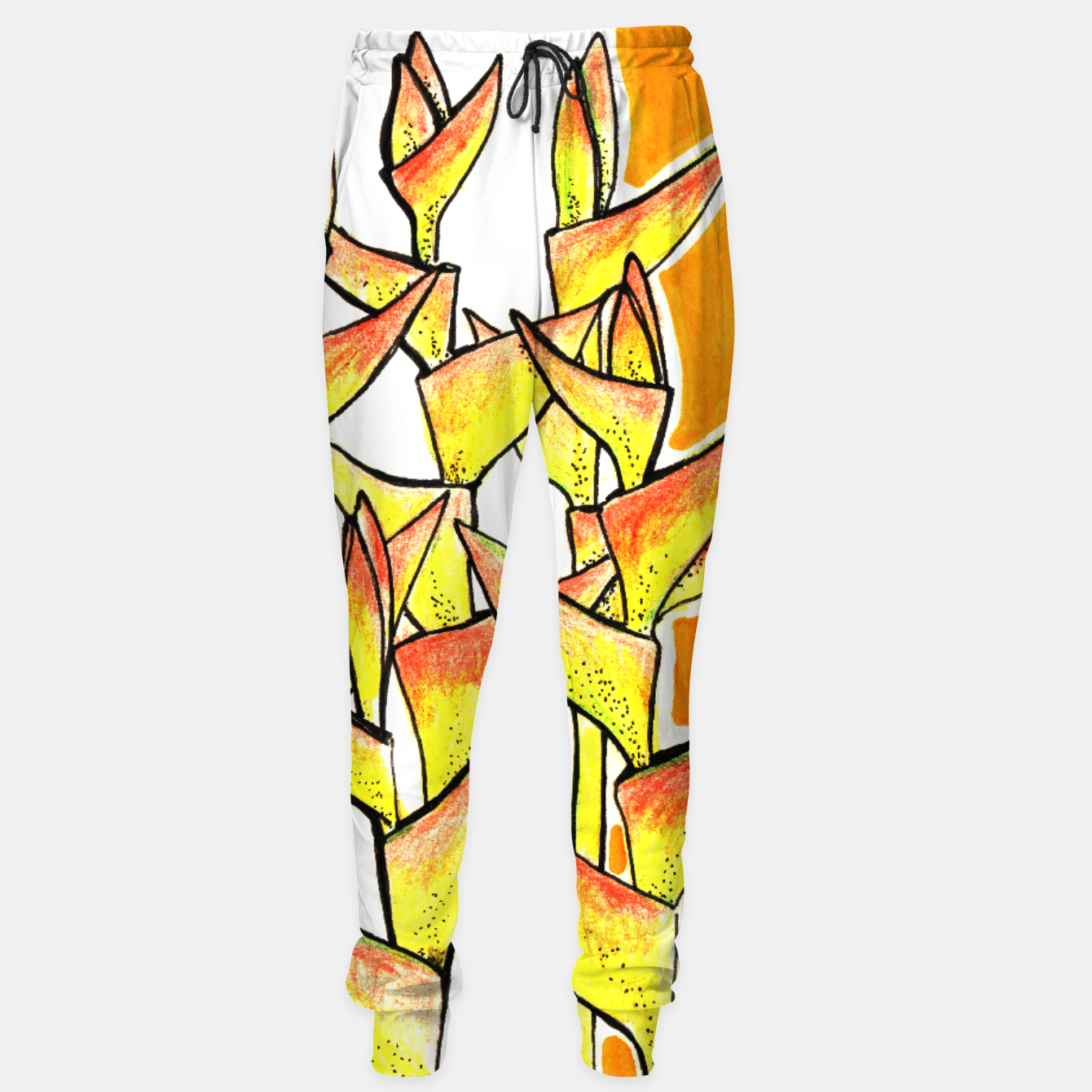 Image of Heliconia Rostrata / Lobster Claw, floral art, yellow & orange Sweatpants - Live Heroes