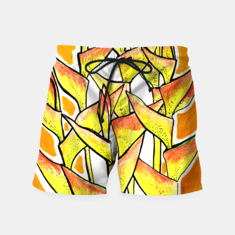 Thumbnail image of Heliconia Rostrata / Lobster Claw, floral art, yellow & orange Swim Shorts, Live Heroes