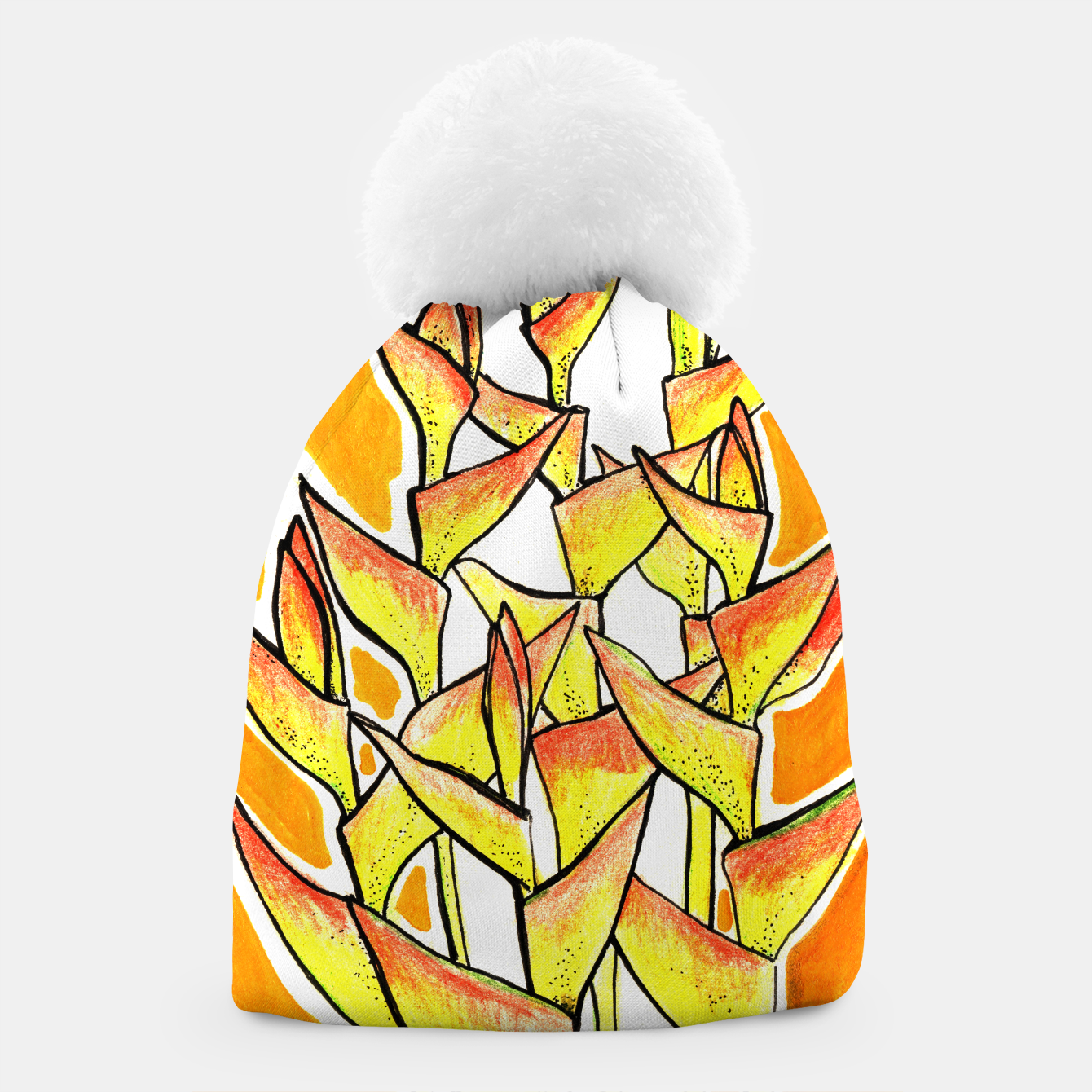 Image of Heliconia Rostrata / Lobster Claw, floral art, yellow & orange Beanie - Live Heroes