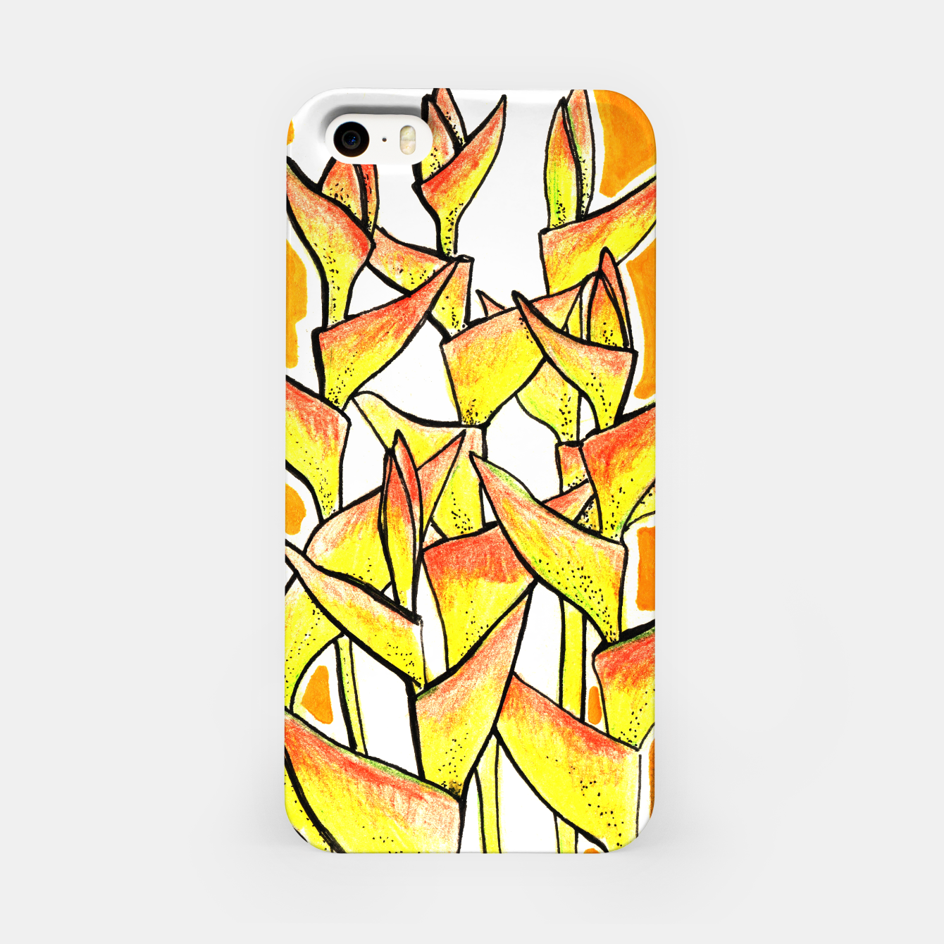 Image of Heliconia Rostrata / Lobster Claw, floral art, yellow & orange iPhone Case - Live Heroes