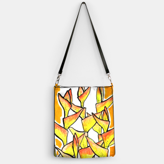Thumbnail image of Heliconia Rostrata / Lobster Claw, floral art, yellow & orange Handbag, Live Heroes