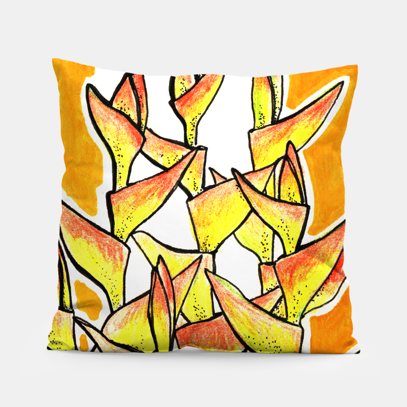 Image of Heliconia Rostrata / Lobster Claw, floral art, yellow & orange Pillow - Live Heroes