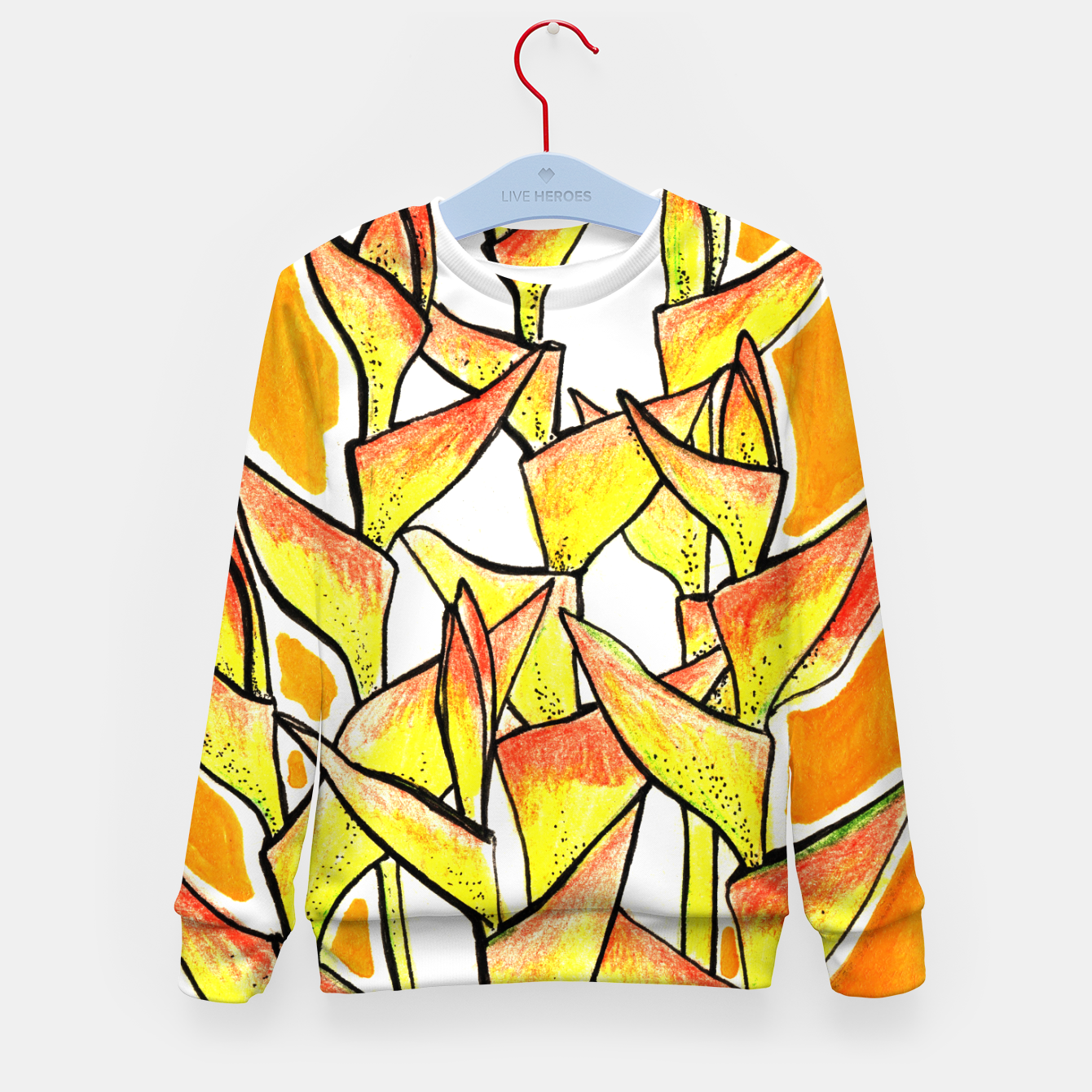 Image of Heliconia Rostrata / Lobster Claw, floral art, yellow & orange Kid's Sweater - Live Heroes