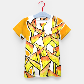 Thumbnail image of Heliconia Rostrata / Lobster Claw, floral art, yellow & orange Kid's T-shirt, Live Heroes