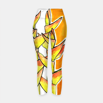 Thumbnail image of Heliconia Rostrata / Lobster Claw, floral art, yellow & orange Yoga Pants, Live Heroes