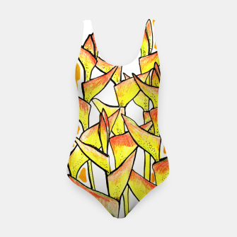 Heliconia Rostrata / Lobster Claw, floral art, yellow & orange Swimsuit thumbnail image