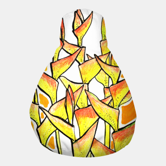 Thumbnail image of Heliconia Rostrata / Lobster Claw, floral art, yellow & orange Pouf, Live Heroes