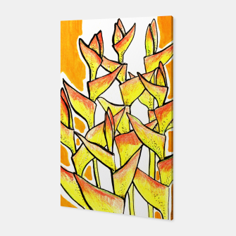 Thumbnail image of Heliconia Rostrata / Lobster Claw, floral art, yellow & orange Canvas, Live Heroes