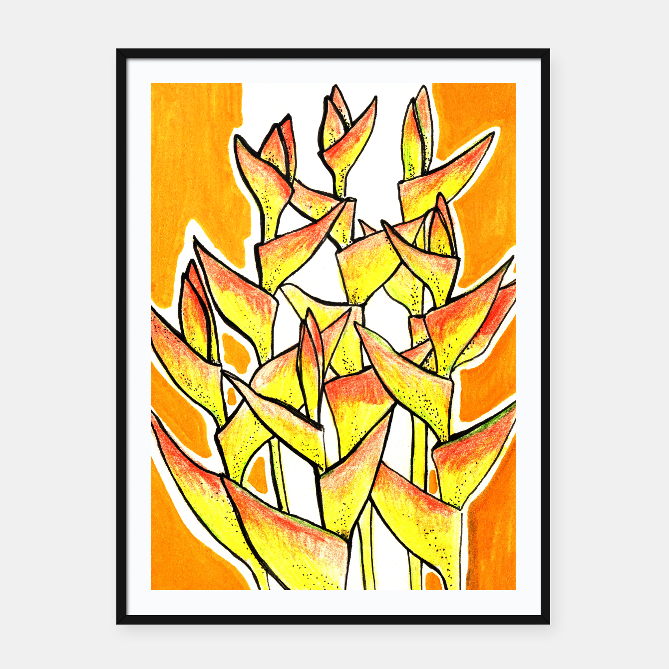 Image of Heliconia Rostrata / Lobster Claw, floral art, yellow & orange Framed poster - Live Heroes