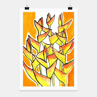 Thumbnail image of Heliconia Rostrata / Lobster Claw, floral art, yellow & orange Poster, Live Heroes