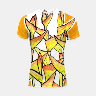 Thumbnail image of Heliconia Rostrata / Lobster Claw, floral art, yellow & orange Shortsleeve Rashguard, Live Heroes