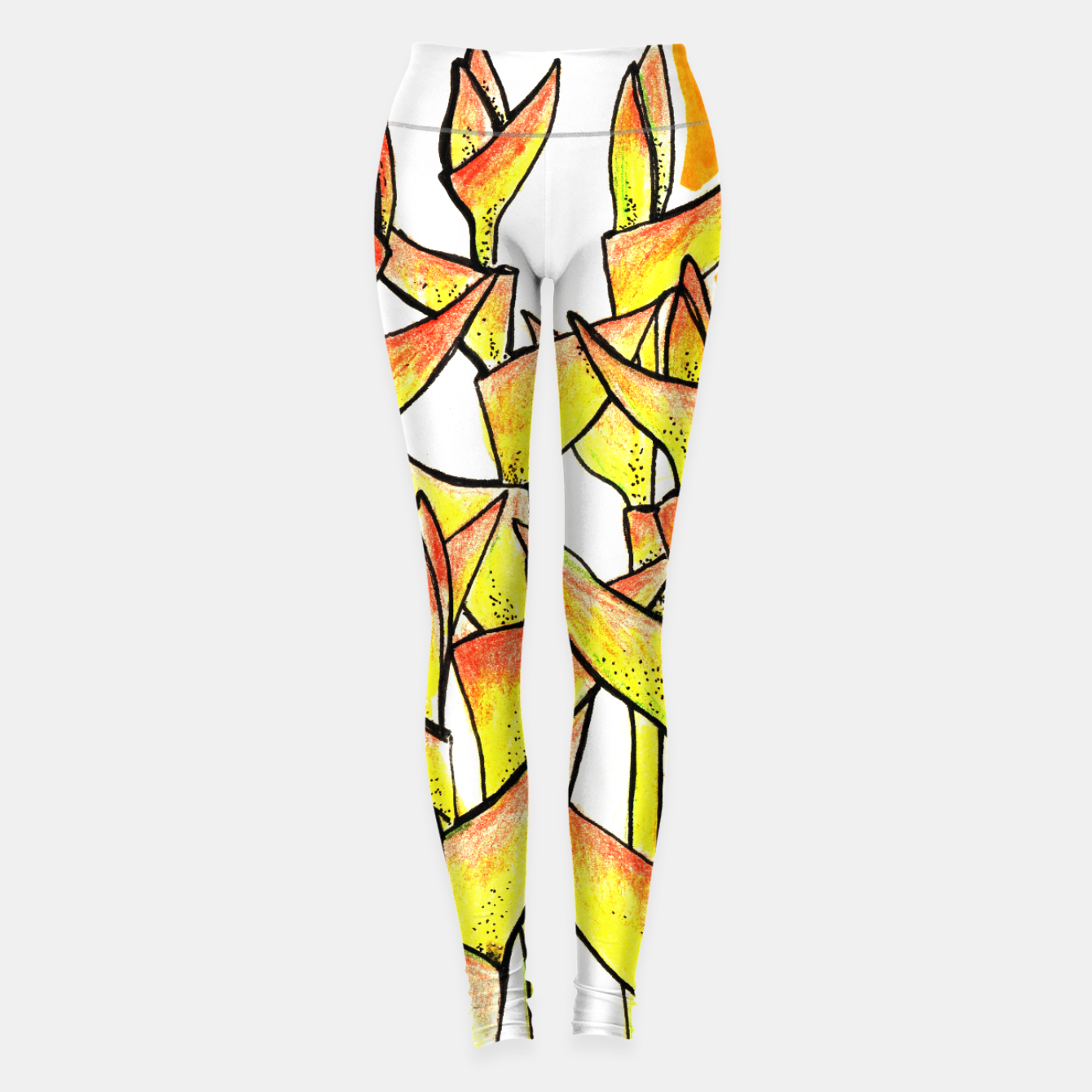 Image of Heliconia Rostrata / Lobster Claw, floral art, yellow & orange Leggings - Live Heroes