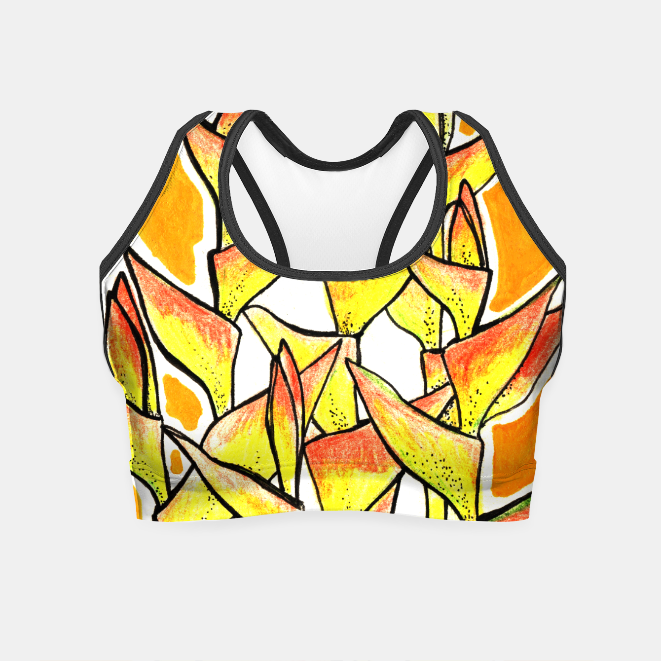 Image of Heliconia Rostrata / Lobster Claw, floral art, yellow & orange Crop Top - Live Heroes